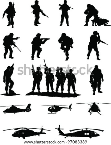 Special Operations Booster Pack #2 of 2,collection of elite military members in action with transport helicopters - stock vector