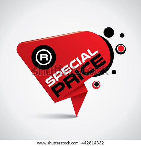Special price bubble with original sign and vibrant red color - stock vector