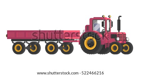 Special-purpose machinery. The tractor with the trailer. Red tractor. Vehicle