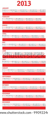 special red calendar for 2013 - stock vector