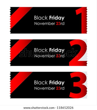 special red paper tickets with black friday text - stock vector