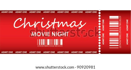 special red ticket for Christmas movie night - stock vector
