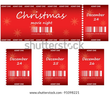 special red tickets for Christmas - stock vector
