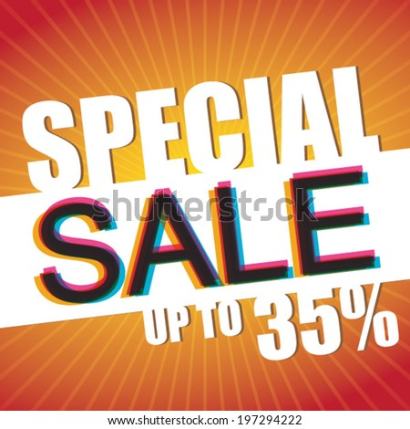Special Sale Upto 35% - vector poster - stock vector