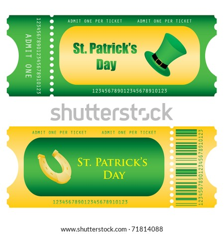 special ticket for St. Patrick's Day - stock vector