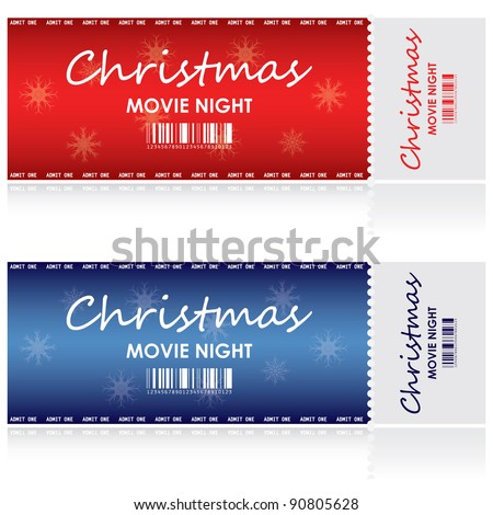 Special tickets for Christmas movie night - stock vector