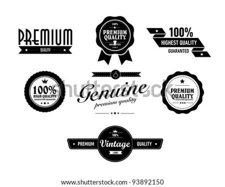 special vintage sticker vith premium quality text - stock vector