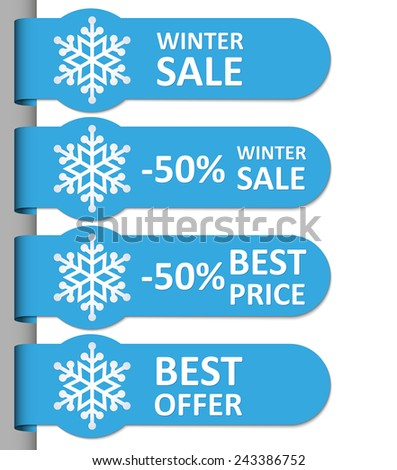 Special winter offer and sales stickers. Vector format. - stock vector