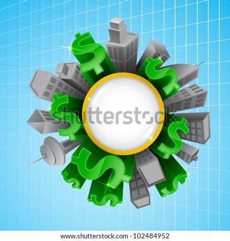 special world of money emblem - stock vector
