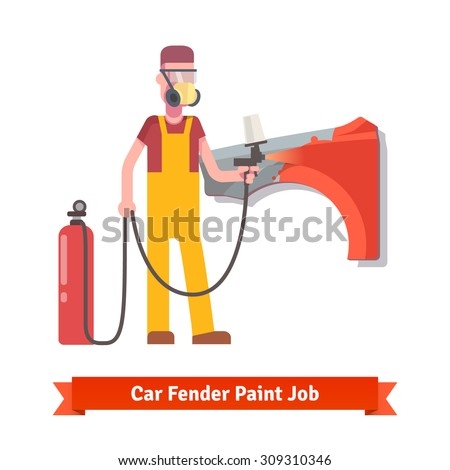 Specialist spray painting auto fender part at the car collision repair shop. Flat style vector illustration isolated on white background. - stock vector