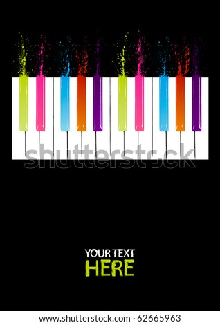 Spectrum piano keys with copy space - stock vector