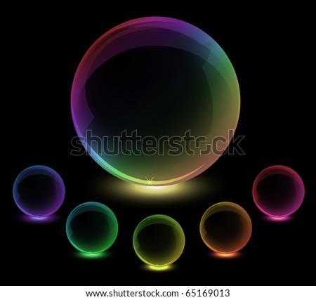 Spectrum rainbow glass spheres. Vector, eps10 - stock vector