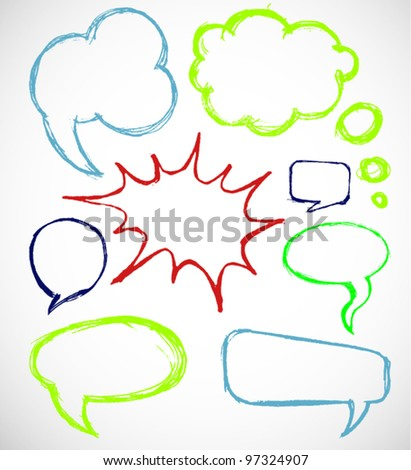 Speech And Thought Bubbles Hand Drawn - stock vector