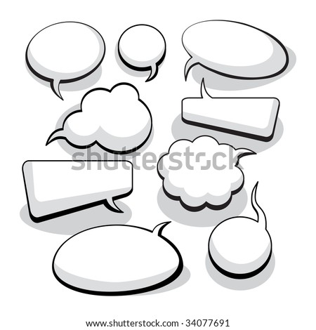 Speech And Thought Bubbles With Space For Text (vector). In the gallery also available XXL jpeg image made from this vector - stock vector