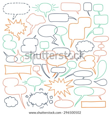 Speech Balloons Collection. Various comics text bubbles - talking, chatting, screaming, whispering, shouting, thinking.  Vector freehand outline drawing isolated over white background - stock vector