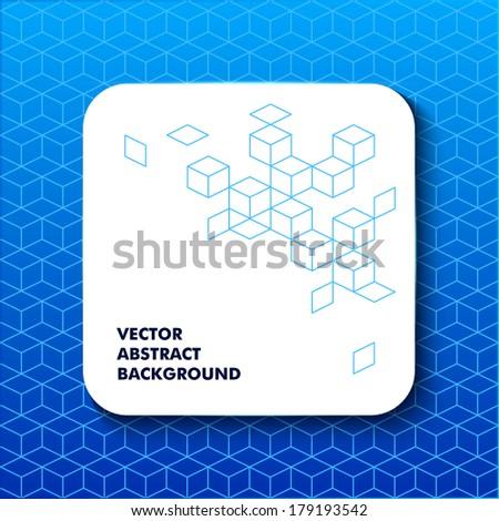 Speech box abstract web element on blue hexagonal background - stock vector