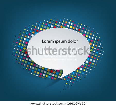 Speech bubble background with colorful halftone background,  Vector eps10 illustration modern template design.  - stock vector