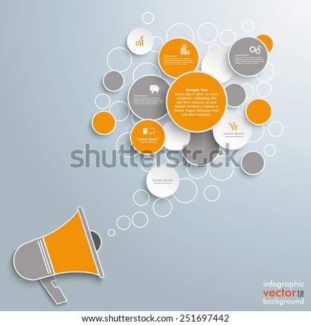 Speech bubble circles with bullhorn on the gray background. Eps 10 vector file. - stock vector