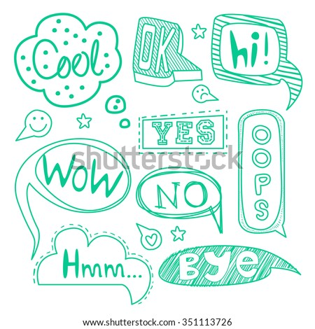 Speech bubble collection. Set of  hand-drawn speech and thought bubbles with sample text. Vector illustration. - stock vector