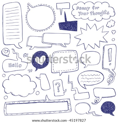 Speech Bubble Doodles - stock vector