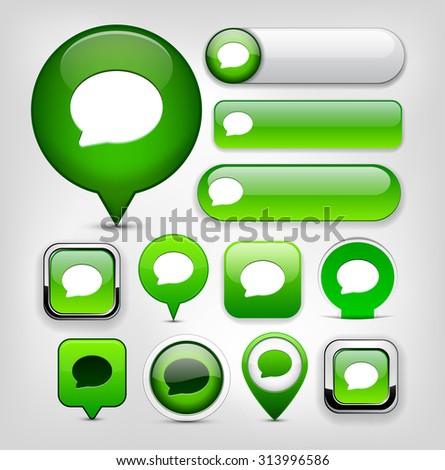 Speech bubble green design elements for website or app. Vector eps10.  - stock vector