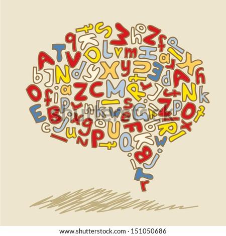 speech bubble hand drawn alphabet - stock vector