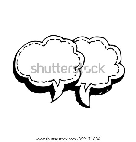 Speech bubble hand drawn Illustration symbol design - stock vector