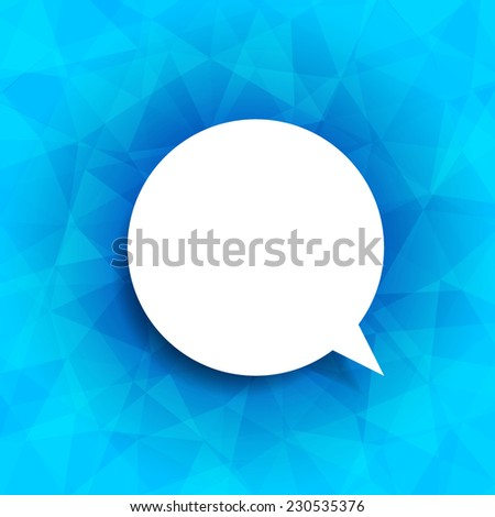 Speech bubble icon on blue background. Vector illustration on trendy and modern abstract polygonal geometric background. Blue shining ice triangular texture with think cloud symbol. Web chat icon - stock vector