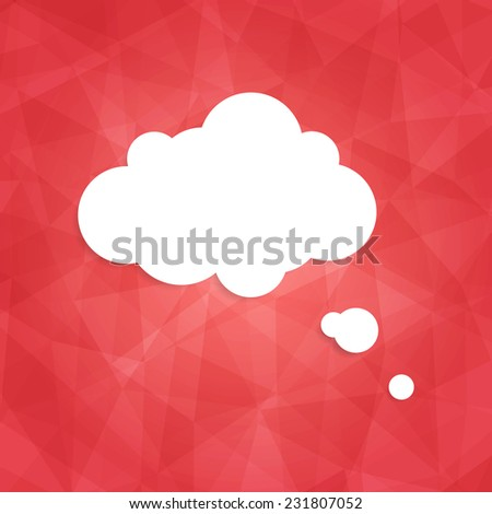 Speech bubble icon on red background. Vector illustration on trendy and modern abstract polygonal geometric background. Bright triangular ruby texture with white think cloud symbol. Web chat icon - stock vector