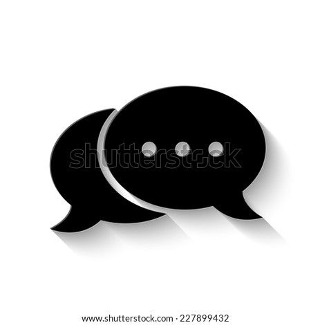 speech bubble icon - vector illustration with shadow - stock vector
