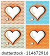 Speech Bubble Love Heart in Pop-Art Style cards set - stock vector