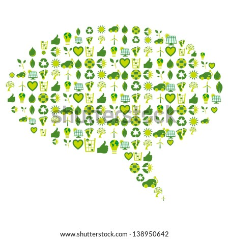 Speech bubble made of bio eco environmental related icons and symbols in four shades of green