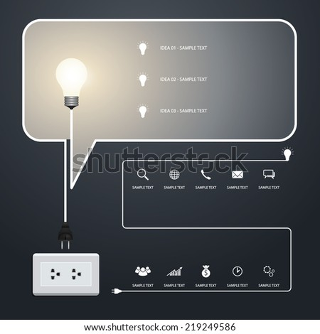 Speech bubble of creative light bulb. Vector infographic idea for template design. - stock vector