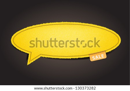 Speech bubble of denim fabric yellow badges, stickers, labels, tags, Vector template design - stock vector