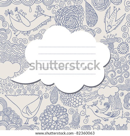 speech bubble on hand drawn background - stock vector