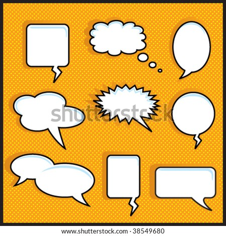 Speech Bubble On Orange Halftone - stock vector