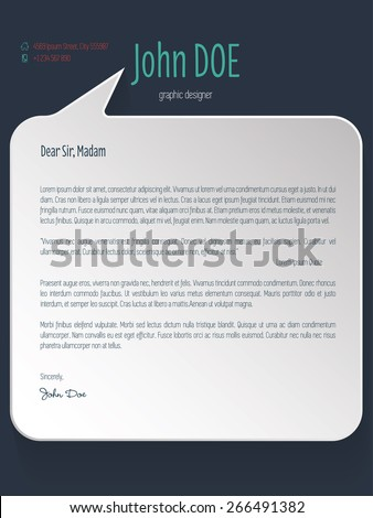 Speech bubble shaped cover letter design for resume - stock vector