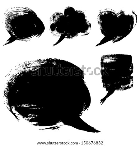 Speech bubble shapes drawn with a brush and paint - stock vector