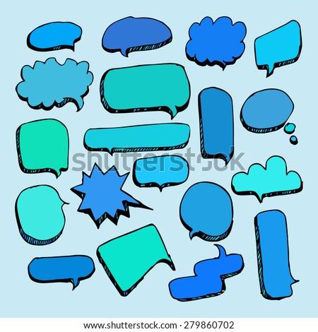 Speech Bubble Sketch hand drawn doodles - stock vector