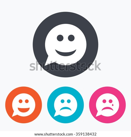 Speech bubble smile face icons. Happy, sad, cry signs. Happy smiley chat symbol. Sadness depression and crying signs. Circle flat buttons with icon. - stock vector