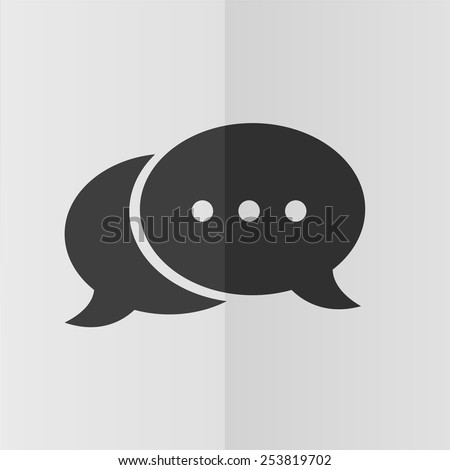 Speech bubble vector icon. Effect of folded paper. Flat design - stock vector