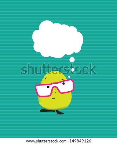 speech bubble with a cute japanese kawaii manga cartoon character - stock vector