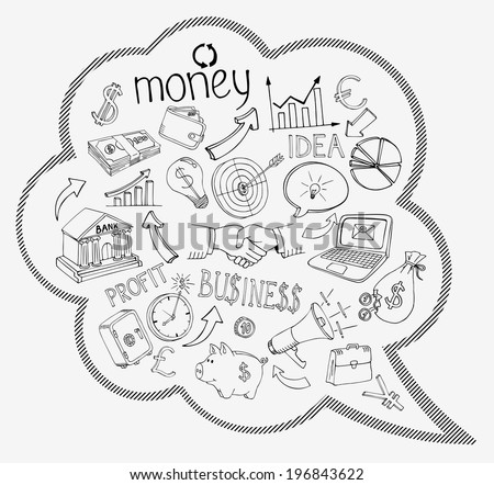 Speech bubble with business and money infographic icons depicting  investment  savings  success  analytics  targets  planning  handshake  security and currencies   vector doodle sketches - stock vector