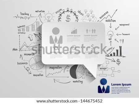 Speech bubble with drawing business strategy plan concept idea, Vector illustration Modern template Design - stock vector