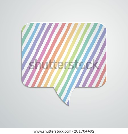 Speech bubble with hand drawn geometric stripes and shadow. Vector illustration