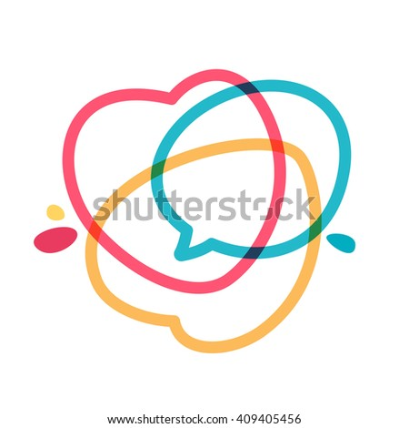 Speech bubble with hearts line logo. Heart Icon Vector. Vector design template elements for your application or corporate identity. - stock vector