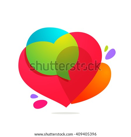 Speech bubble with hearts volume logo.Heart Icon Vector. Vector design template elements for your application or corporate identity. - stock vector