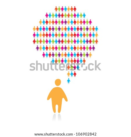 speech bubble with many abstract people - stock vector