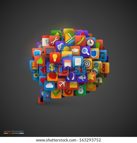 Speech bubble with many application icons. Vector illustration - stock vector