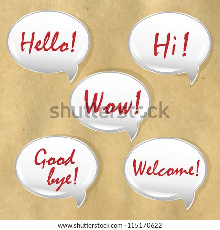 Speech Bubble With Old Paper, Isolated On Old Paper Background, Vector Illustration - stock vector